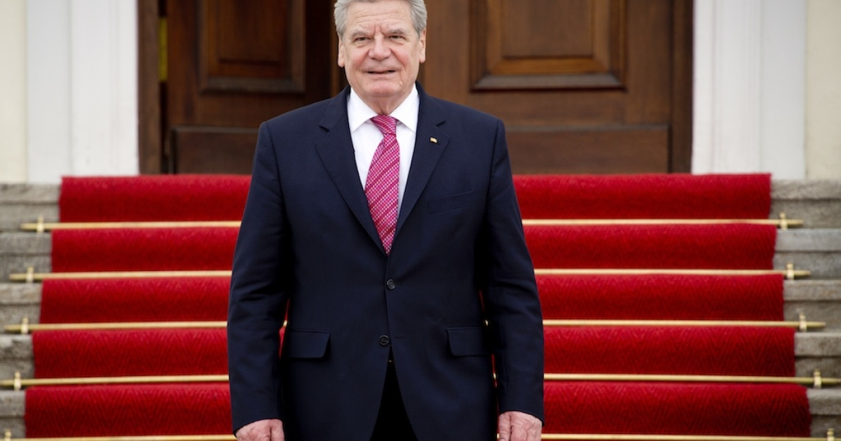 German President Joachim Gauck stands outside his official residence, the Bellevue Palace, in Berlin on April 16, 2013.</p>