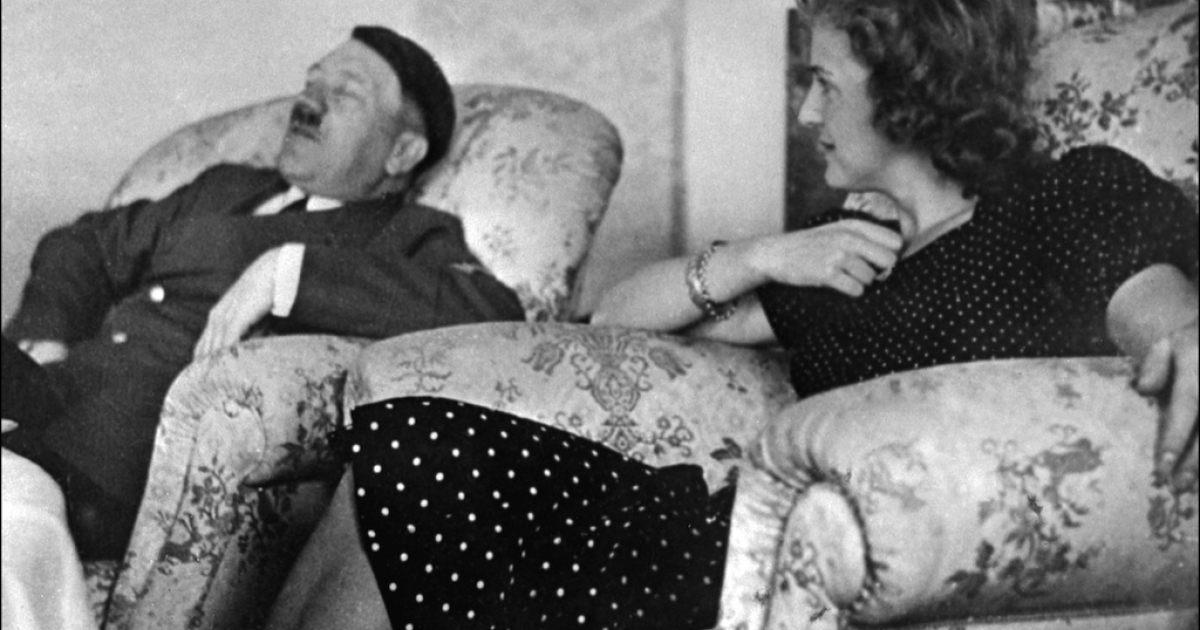 Undated and unlocated picture of German Chancellor and 'Reichsfnhrer' (chief) Adolf Hitler relaxing with his mistress Eva Braun.</p>