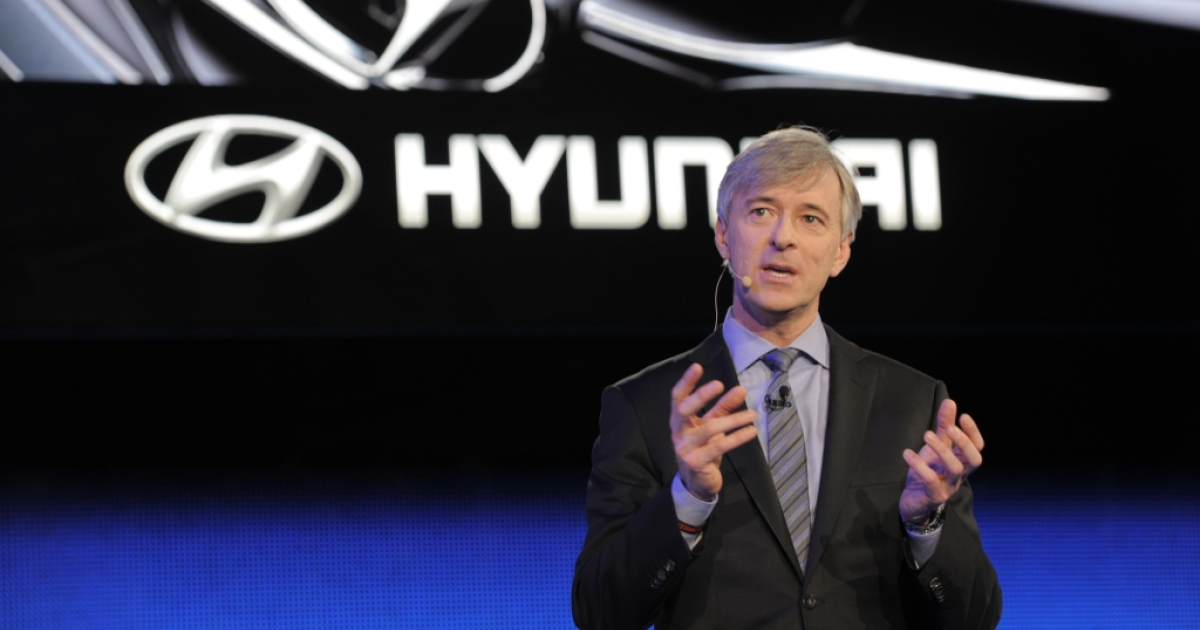 John Krafcik, President and CEO of Hyundai Motor America, speaks at the 2013 North American International Auto Show in Detroit, Michigan, on January 14, 2013.</p>