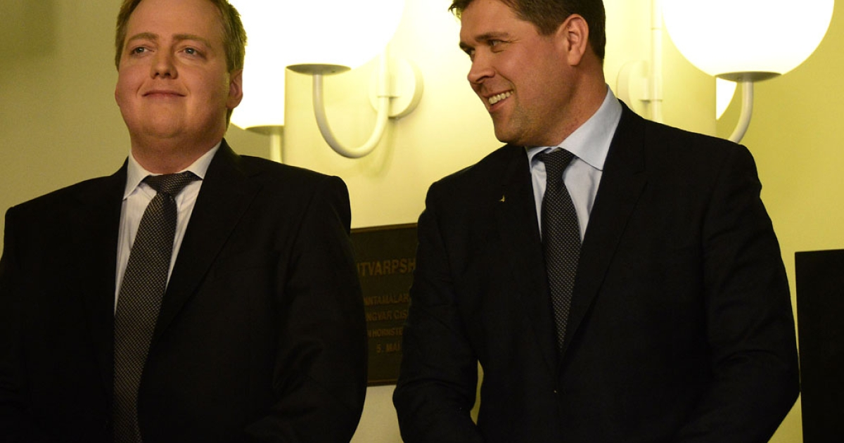Sigmundur Gunnlaugsson, leader of Iceland's Progressive Party (L) and Bjarni Benediktsson (R) , leader of the Independence Party, arrive at the state's TV station on election night in Reykjavík, Iceland, on April 28, 2013. Iceland's centre-right opposition scored a clear victory in the island's parliamentary poll, allowing the two parties to kick off negotiations for a coalition government.</p>