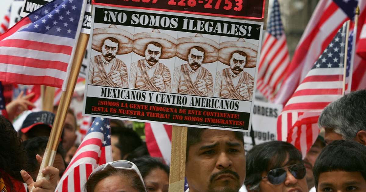 Thousands of demonstrators march through downtown to City Hall in one of several May Day marches and rallies in southern California and in at least 75 cities nationwide to press for immigrant and labor rights on May 1, 2007 in Los Angeles, California.</p>