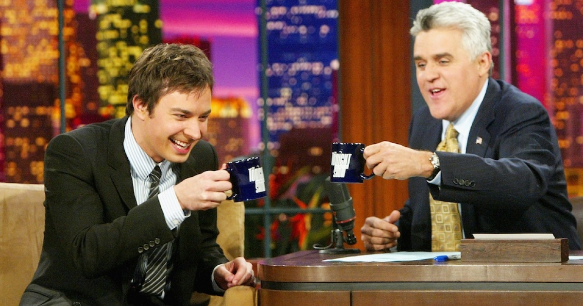 BURBANK, CA - SEPTEMBER 22: Actor Jimmy Fallon (L) appears on 'The Tonight Show with Jay Leno' at the NBC Studios on September 22, 2004 in Burbank, California.</p>