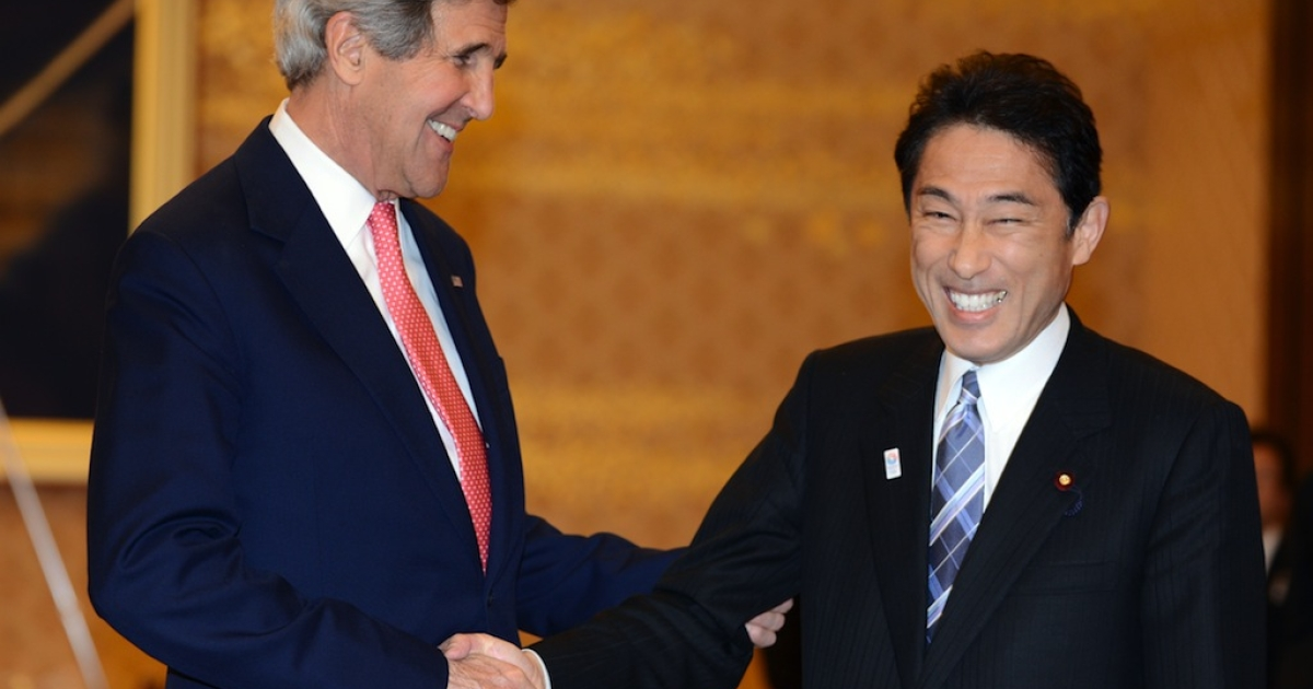 US Secretary of State John Kerry with Japanese Foreign Minister Fumio Kishida prior to their talks in Tokyo on April 14, 2013.</p>