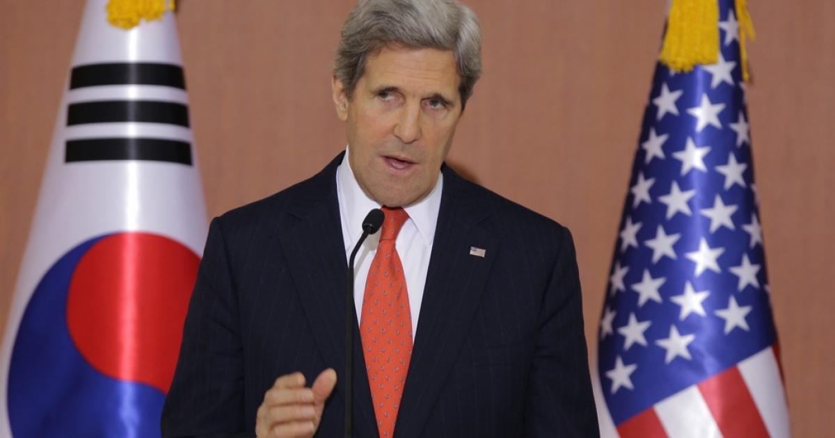 US Secretary Of State John Kerry attends with South Korean Foreign minister Yun Byung-Se a joint press conference on April 12, 2013 in Seoul, South Korea.</p>