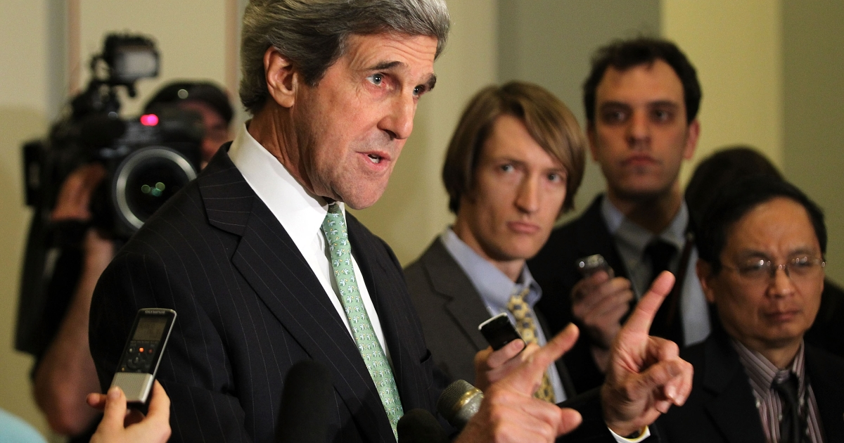 John Kerry arrived in China on April 13, 2013, to talk to top leaders amid speculation that North Korea is preparing for a missile launch.</p>
