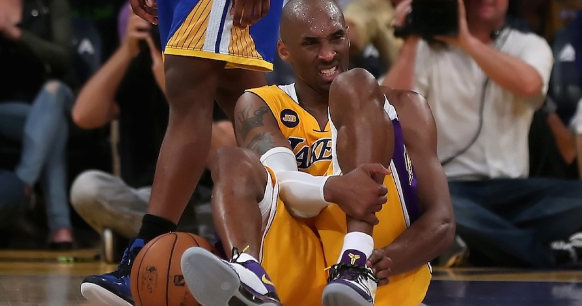LOS ANGELES -- Laker's star Kobe Bryant injured his Achilles tendon during a game against the Golden State Warriors at Staples Center on April 12, 2013.</p>