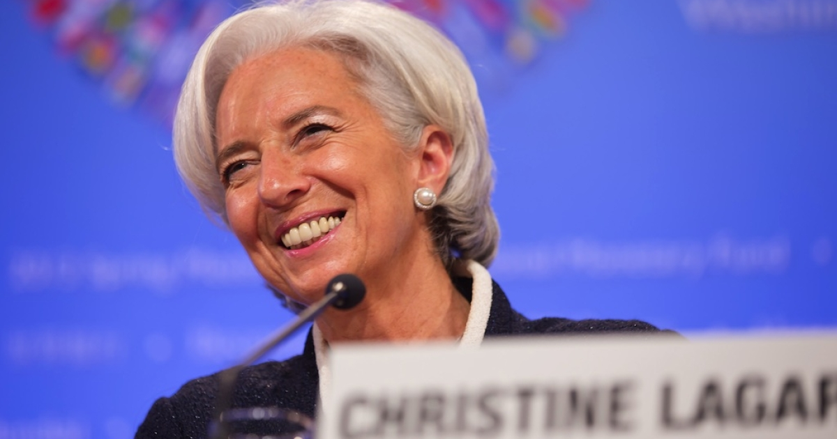 IMF Managing Director Christine Lagarde speaks to reporters during a news conference at the start of the IMF-World Bank spring meetings in Washington, D.C., on April 18, 2013.</p>