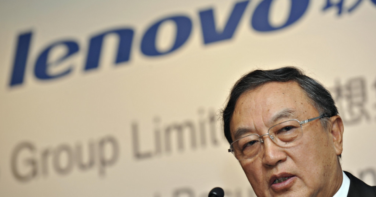 Chairman of Chinese computer giant Lenovo, Liu Chuanzhi, addresses a press conference in Hong Kong on May 21, 2009.</p>