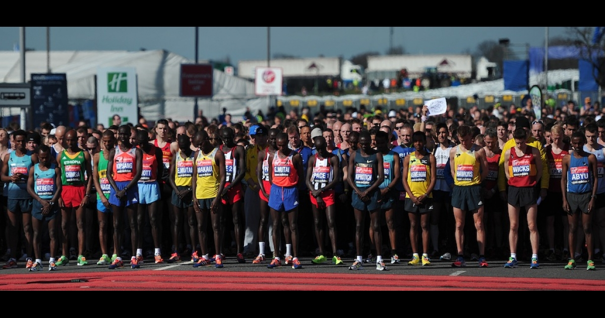 Runners in the men's elite race at the start of the 2013 London Marathon in Blackheath, southeast London observe 30 seconds of silence in tribute to the victims of the deadly bomb attacks at the Boston Marathon. The April 21, 2013 race in London came less than a week after bombs at the Boston Marathon claimed three lives and injured more than 170.</p>