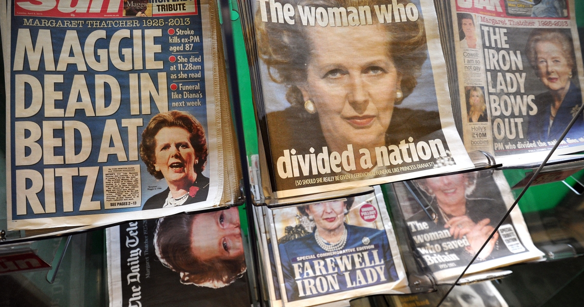 Newspapers with front-page coverage on the death of former British Prime Minister Margaret Thatcher on news stands in London on April 9.</p>