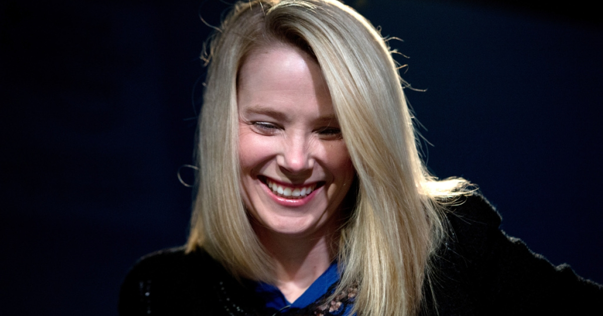 Marissa Mayer, CEO of Yahoo!, smiles during a session of the World Economic Forum 2013 Annual Meeting on Jan. 25, 2013 at the Swiss resort of Davos.</p>