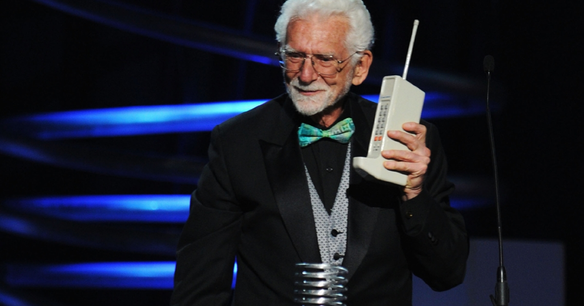 Cellphone inventor Martin Cooper accepts his award onstage during the 15th Annual Webby Awards at the Hammerstein Ballroom on June 13, 2011, in New York City.</p>
