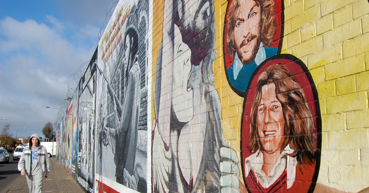 A Belfast mural depicts Bobby Sands and the nine hunger strikers who died in Maze prison in 1981. A plan to turn the former prison into a museum has prompted fierce debate.</p>