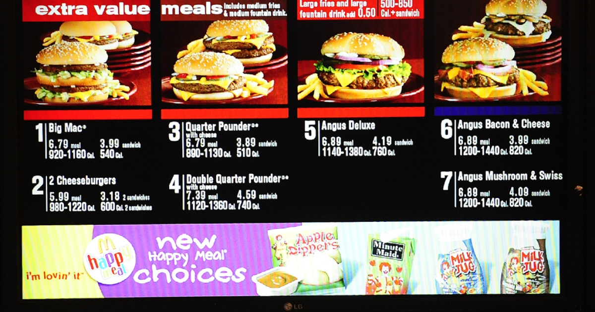 A McDonald's menu in New York is shown on January 28, 2011.</p>