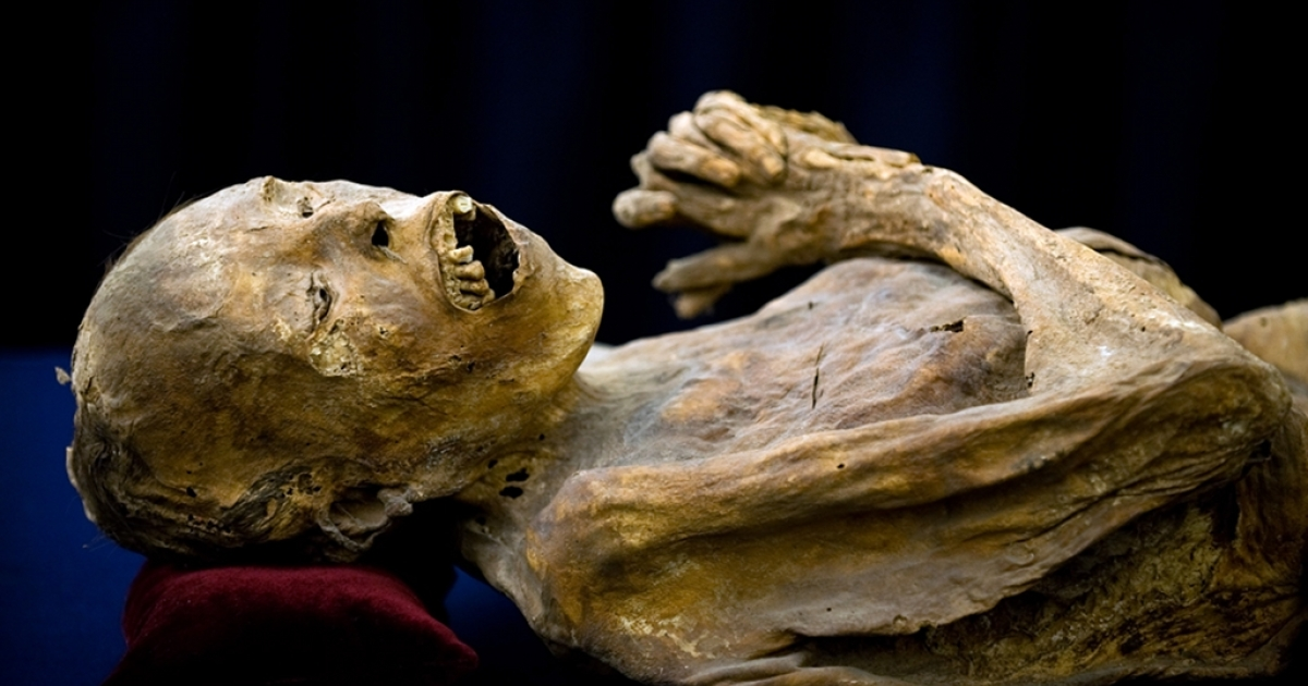 One of Mexico's famous mummies, remnants of victims of a 19th century cholera outbreak, on display in Guanajuato.</p>