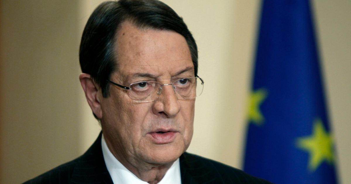 Cypriot President Nicos Anastasiades addresses the nation in a live televised speech in Nicosia on Mar. 25, 2013 after having flown home from Brussels where he negotiated a bailout deal.</p>