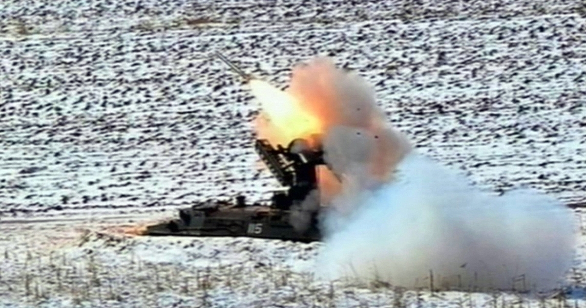 This video grab taken from North Korean TV on March 20 shows a self-propelled surface to air missile during North Korean leader Kim Jong Un's overseeing of a live-fire military drill using drones and cruise missile interceptors.</p>