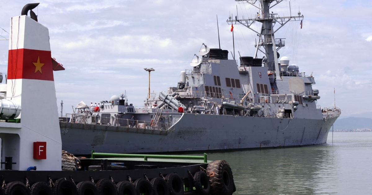 The US destoryer USS John S. McCain lies at anchor at Tien Sa port in the central costal city of Danang on August 10, 2010. The warship has been sent to the Asia-Pacific region as tensions mount over North Korea's saber-rattling.</p>