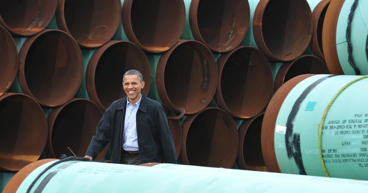 US President Barack Obama arrives to speak at the TransCanada Stillwater pipe yard in Cushing, Oklahoma. Obama spoke about the Keystone XL pipeline and his energy policies.</p>