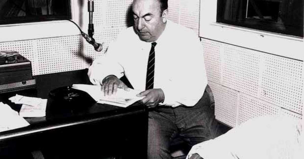 Pablo Neruda during a Library of Congress recording session, 20 June 1966</p>