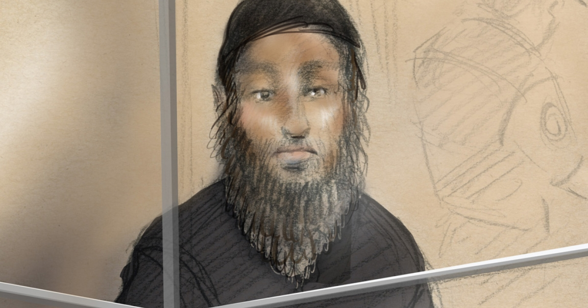 This courtroom sketch shows Raed Jaser in a Toronto court on April 23, 2013. Chiheb Esseghaier, 30, and Jaser, 35, were arrested for allegedly planning to carry out an attack on a Via Rail train, the Royal Canadian Mounted Police told a news conference.</p>