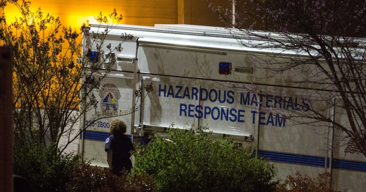 HYATTSVILLE, MD - APRIL 16:<br />A hazardous materials response team truck sits outside a mail sorting facility in Hyattsville, Maryland, on Tuesday,  April 16, 2013.  An envelope addressed to Sen. Roger Wicker  (R-MS) tested positive for ricin at the facility where mail bound for the U.S. Capitol is sorted. (Photo by Drew Angerer/Getty Images)</p>