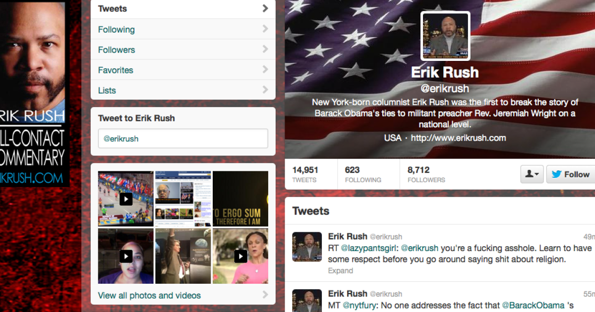 A screenshot of Erik Rush's Twitter page.</p>
