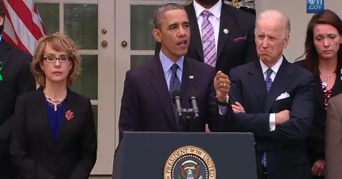 President Barack Obama speaking at the White House on April 17, 2013, following the defeat of the bipartisan background checks bill in the Senate earlier that day.</p>