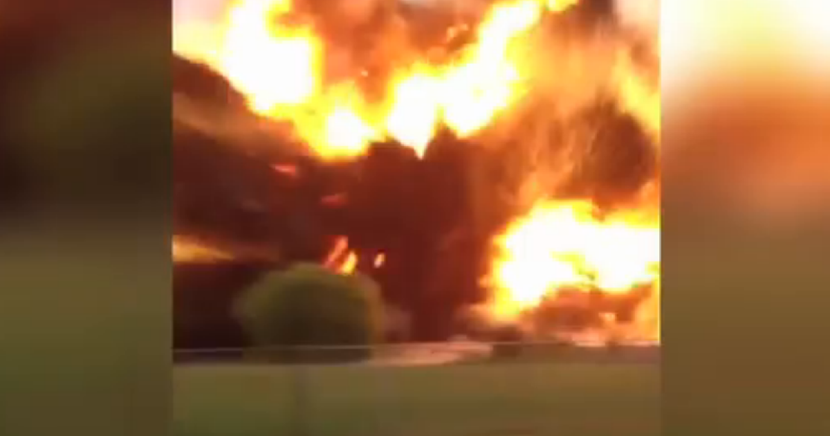 A still from the shocking footage captured by an unnamed man of the Waco, Texas fertilizer plant explosion as he sat in a car with his young daughter.</p>