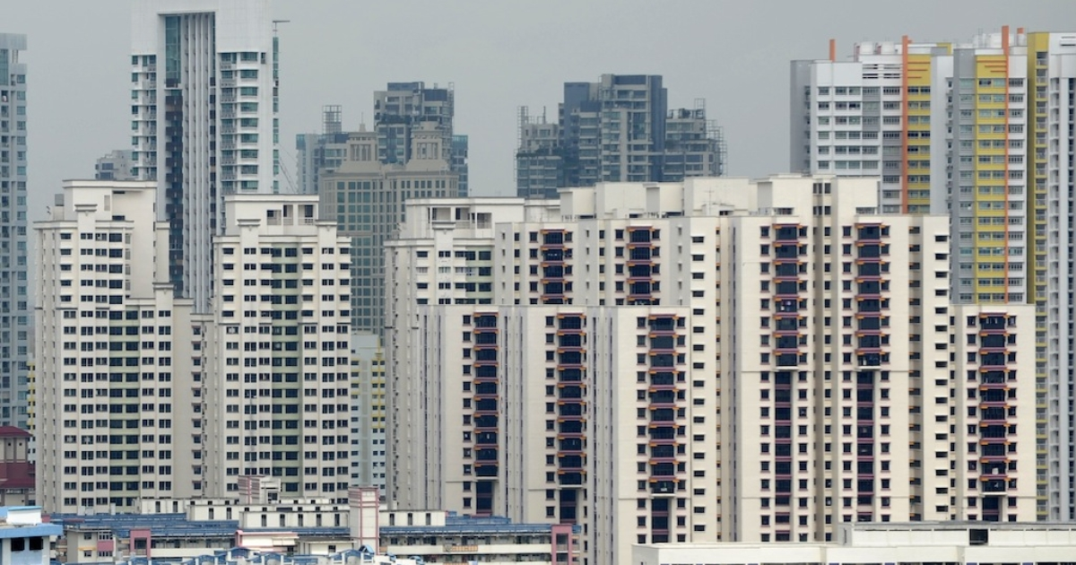 A general view shows highrise housing apartment buildings in Singapore on Jan. 14, 2013.</p>