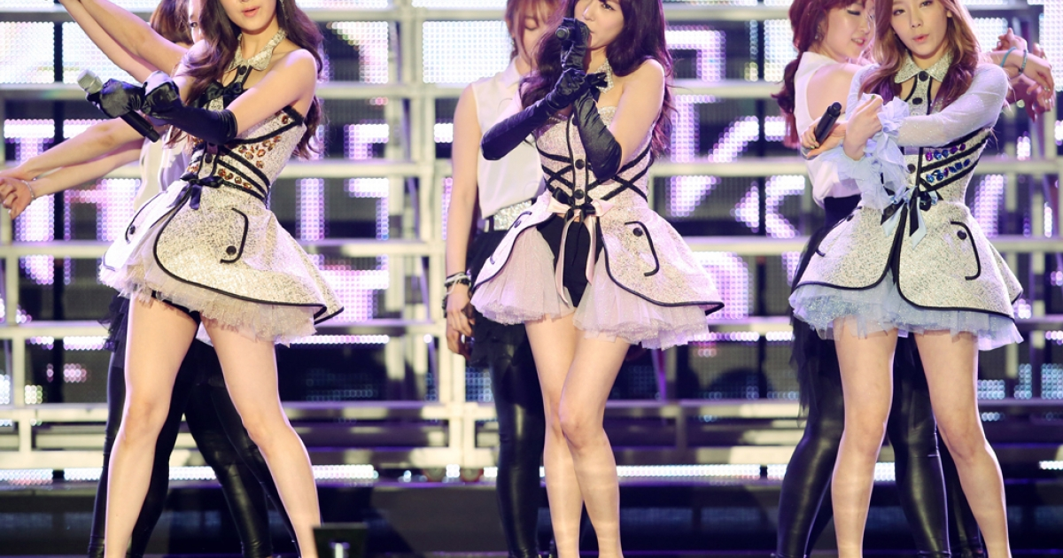 South Korean girl band Girls' Generation-TTS performs in Seoul on Feb. 13, 2013.</p>