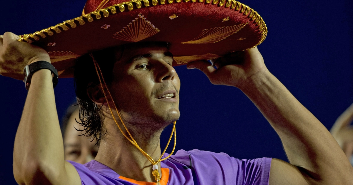 Rafael Nadal, the Spanish tennis star, puts on a traditional Mexican mariachi hat at the Mexico ATP Open in Acapulco, Guerrero state in March.</p>