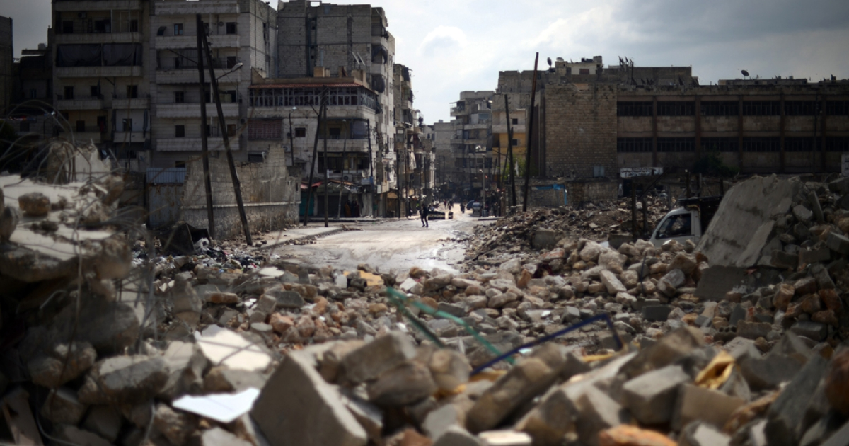A picture shows destruction in the Al-Sukkari district of the northern Syrian city of Aleppo on April 5, 2013.</p>