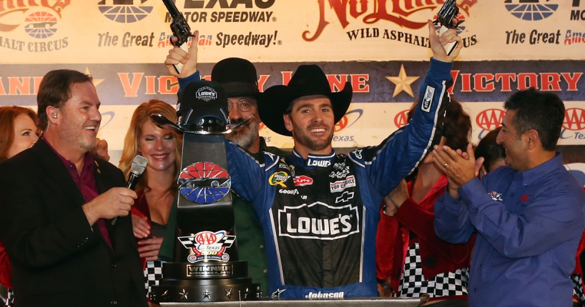 Jimmie Johnson celebrates at Texas Motor Speedway after winning the NASCAR Sprint Cup race on November 4, 2012 in Fort Worth. Connecticut Sen. Chris Murphy asked FOX owner Rupert Murdoch on April 11, 2013, to pull the race, called the NRA 500 this year, in reponse to the Sandy Hook shootings.</p>