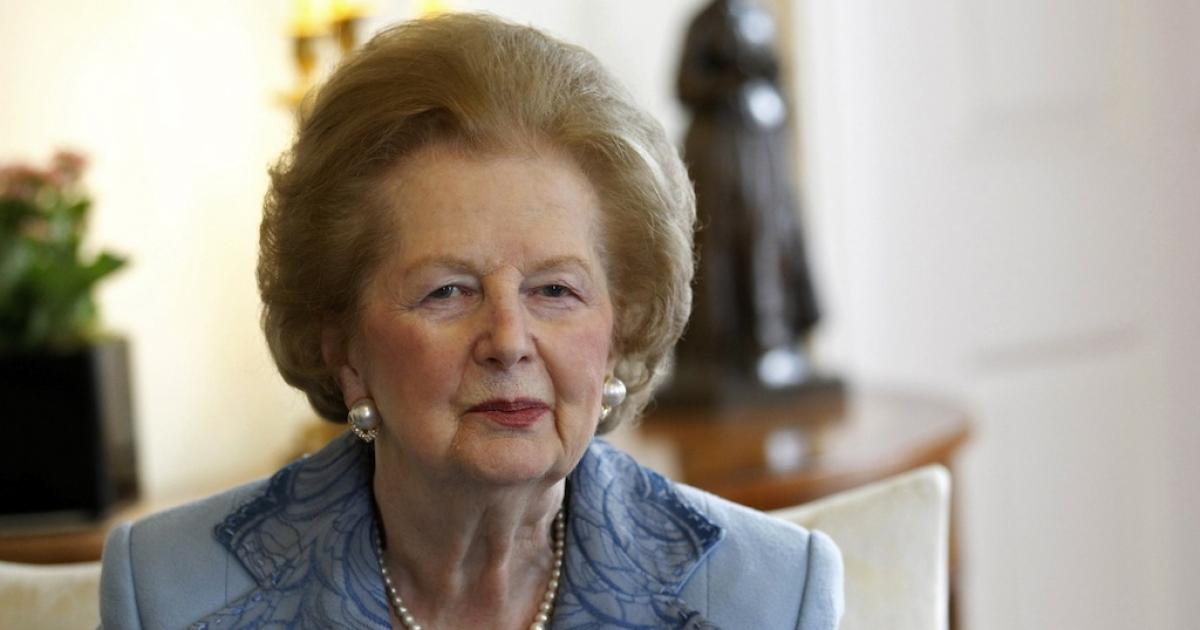 Former Prime Minister Margaret Thatcher at No. 10 Downing Street, London, on June 8, 2010.</p>