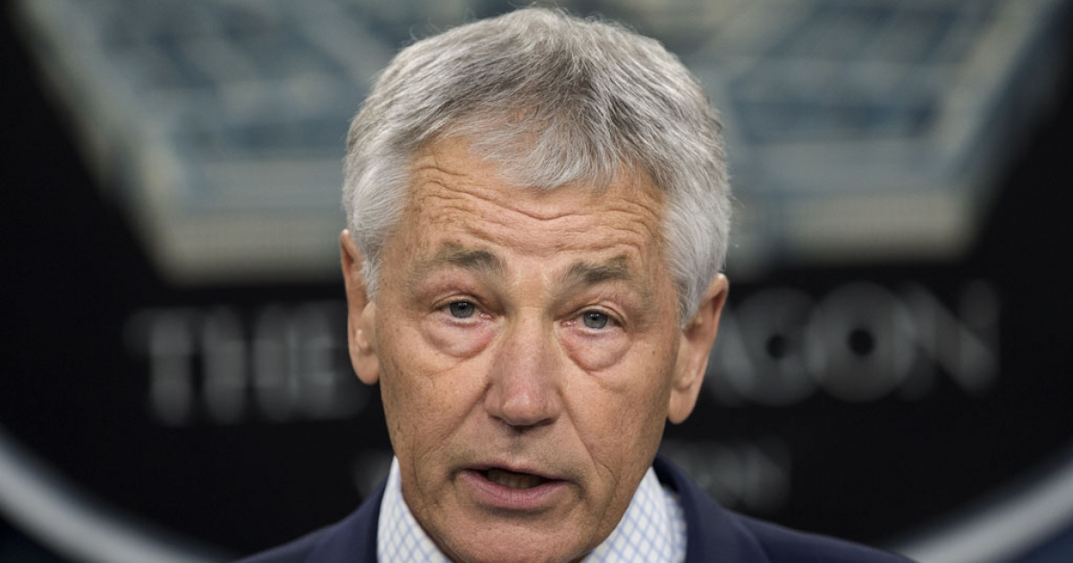 US Secretary of Defense Chuck Hagel speaks on March 15, 2013, inside the media briefing room of the Pentagon, in Washingon, DC.</p>