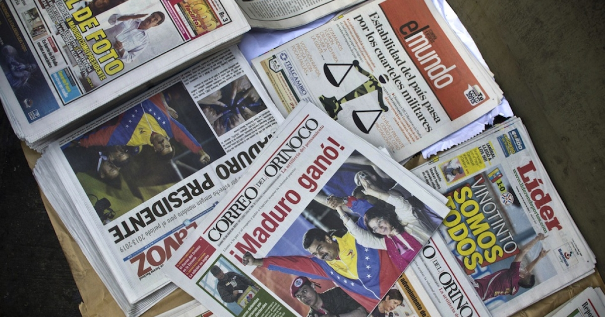 Read all about it. Nicolas Maduro's narrow victory in the Venezuelan presidential election was splashed across the front pages of local newspapers on Monday.</p>