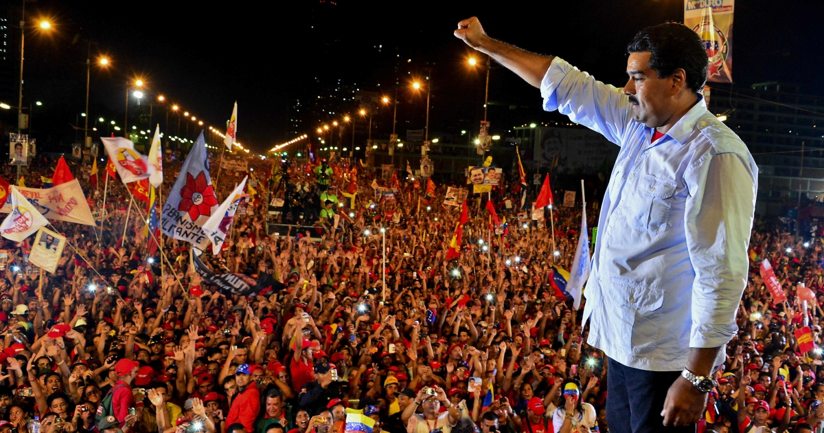 Venezuelan acting President Nicolas Maduro closes his campaign for president in Caracas ahead of Sunday's ahead election.</p>