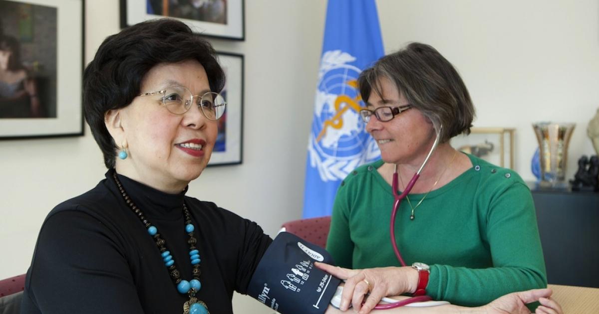 Dr. Margaret Chan, Director-General of WHO, having her blood pressure taken.</p>