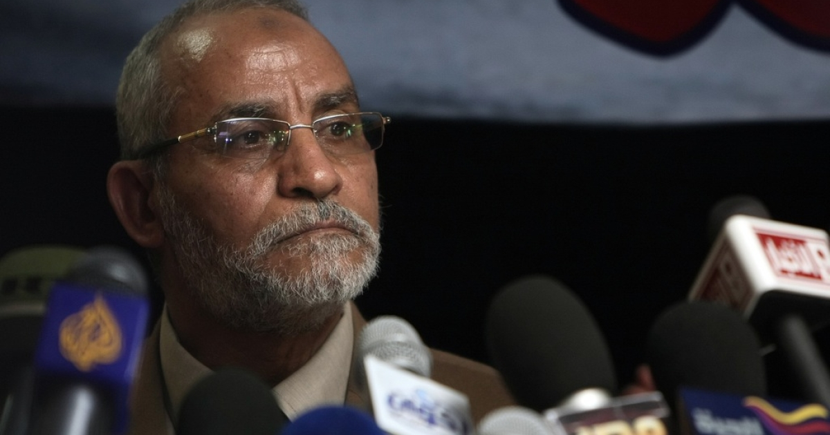 Mohammed Badie, the head of Egypt's Muslim Brotherhood, speaks during a press conference in Cairo on March 16, 2011. Badie was arrested by Egyptian security forces on August 20, 2013.</p>