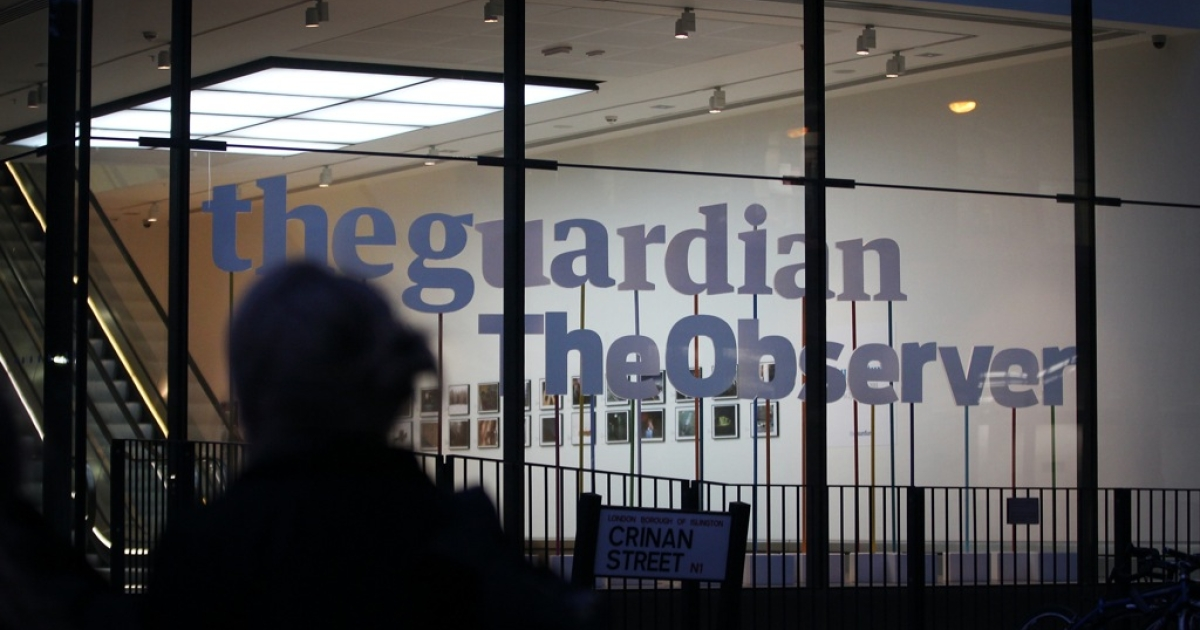 The Guardian and Observer newspaper office, situated near King's Cross in London, England. The Guardian's editor-in-chief says that the UK spy agency sent its officials to force the paper to destroy its records relating to NSA whistleblower Edward Snowden.</p>
