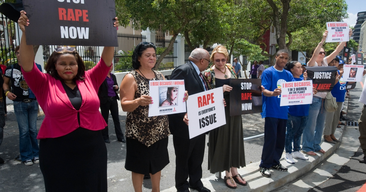 February 11, 2013- Western Cape Province Premier and leader of the opposition Democratic Alliance (DA) party Helen Zille (4th L) joins a protest to against rape outside the parliament in the center of Cape Town. The protest was called for after the gang-rape, and mutilation of 17 year-old Anene Booysen, who eventually died of her injuries, on February 2, 2013.</p>