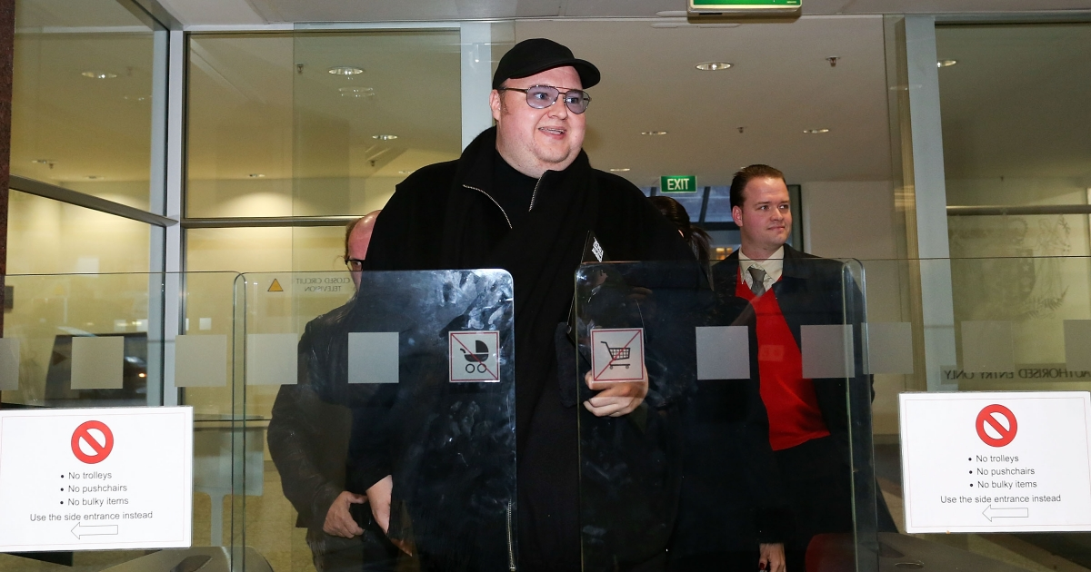 Kim Dotcom arrives for an Intelligence and Security Committee hearing at Bowen House on July 3, 2013 in Wellington, New Zealand. Mr. Dotcom is trying to create an email system which can guarantee users' privacy.</p>