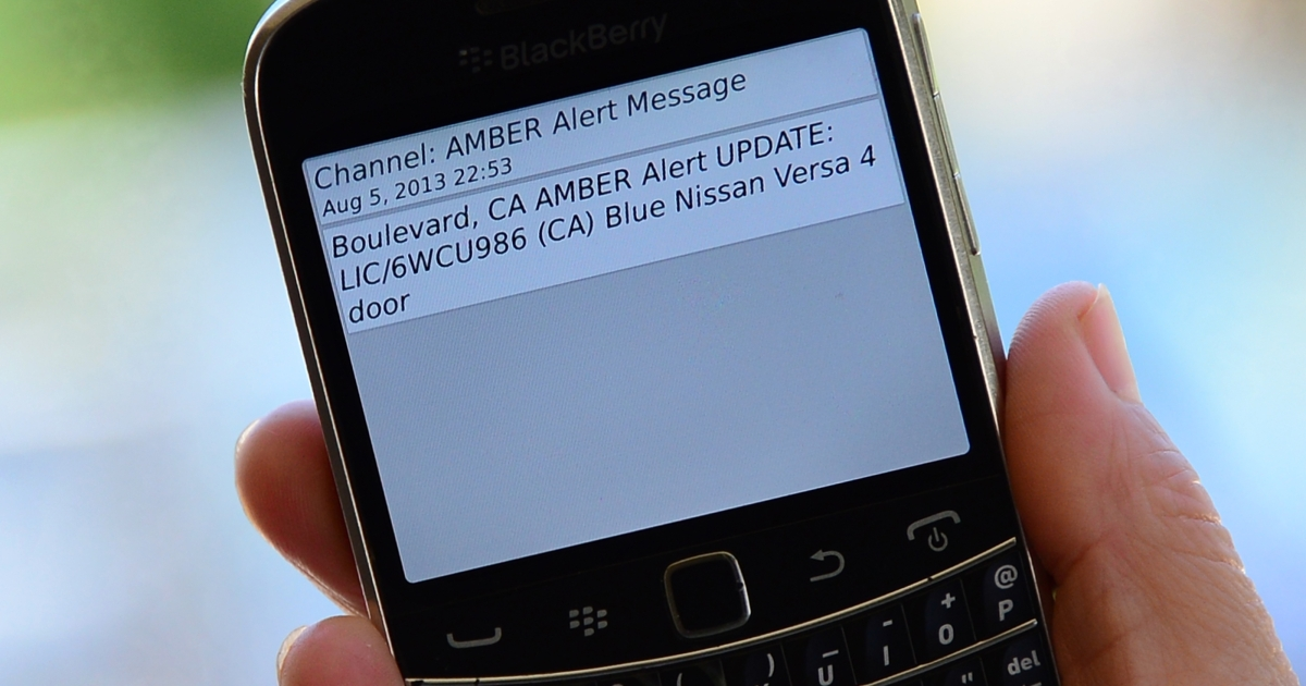 A cellphone displays the Amber Alert issued late on August 5, 2013 in Los Angeles, California, which marked the first time officials have notified the public of a statewide Amber Alert through their cellphones. The alert was in reference to James Lee DiMaggio, suspected of killing Christina Anderson, 44, and kidnapping one or both of her children: Hannah Anderson, 16, and Ethan Anderson, 8.</p>