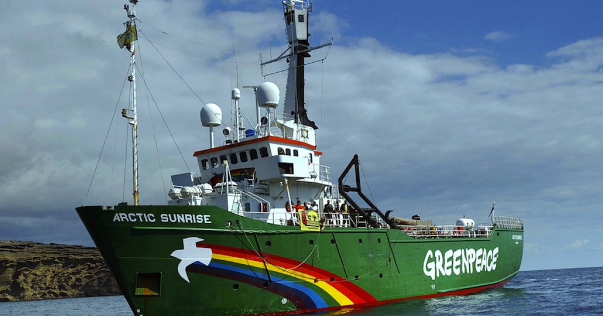 Greenpeace ship the 'Arctic Sunrise' arrived last 19 February in the Canary Islands, starts a tour of Spain 22 February 2005.</p>