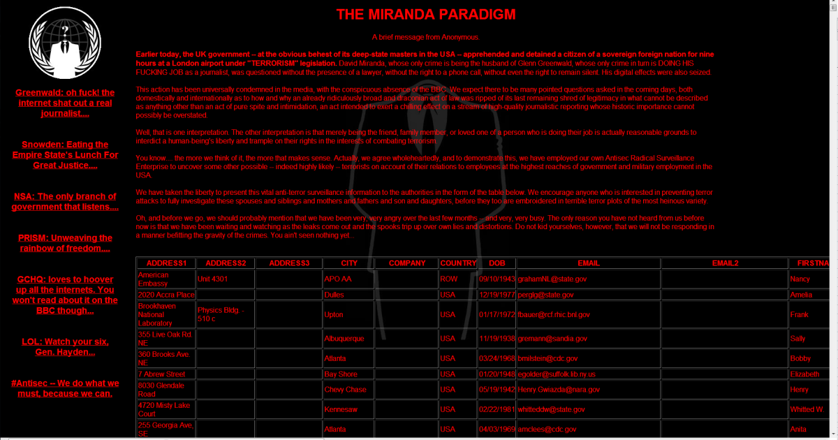 A screengrab of the message posted by Anonymous to hacked websites <a href=