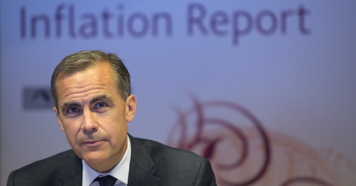 Bank of England Governor Mark Carney holds his first BoE news conference in London on August 7, 2013.</p>