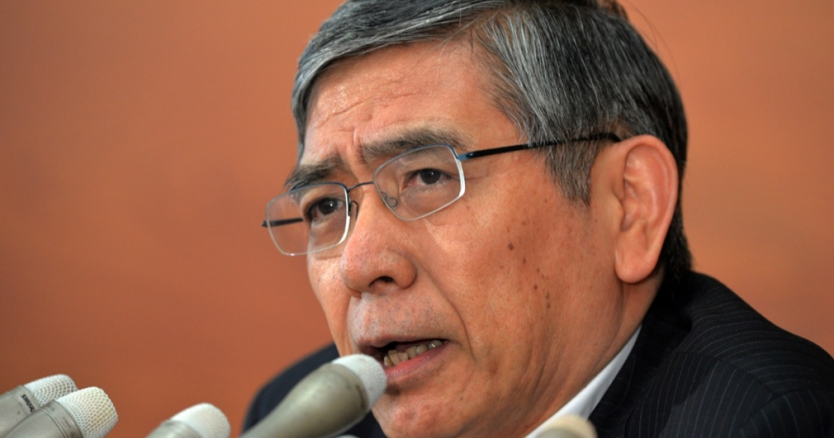 Governor Haruhiko Kuroda speaks to the press at the BOJ headquarters in Tokyo on August 8, 2013 after a two-day policy meeting</p>