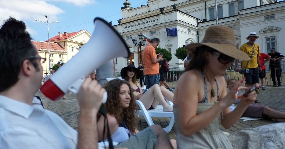 Protesters in front of parliament. One survey found 72 percent of Bulgarians find the situation in their country