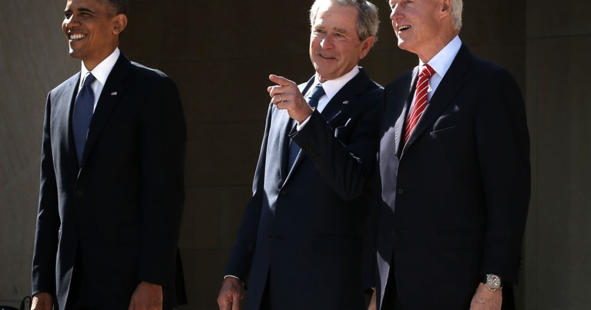 US President Barack Obama, former President George W. Bush, and former President Bill Clinton attend the opening ceremony of the George W. Bush Presidential Center April 25, 2013 in Dallas, Texas.</p>